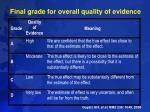 final grade for overall quality of evidence