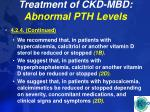treatment of ckd mbd abnormal pth levels47