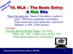 10 mla the basic entry a web site