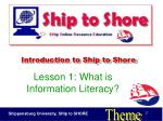 introduction to ship to shore