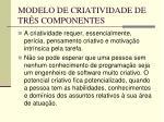 modelo de criatividade de tr s componentes