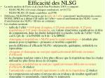 efficacit des nlsg2