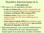 hypoth se dopaminergique de la schizophr nie