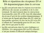 r le et r partition des r cepteurs d3 et d4 dopaminergiques dans le cerveau