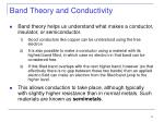 band theory and conductivity