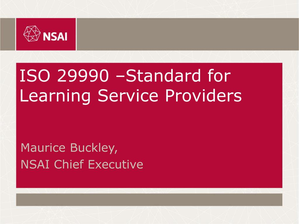 iso 29990 standard for learning service providers l.