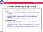 on orbit sustaining engineering