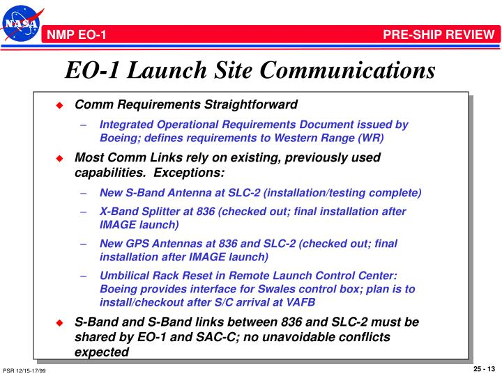 EO-1 Launch Site Communications