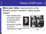history of dip cont