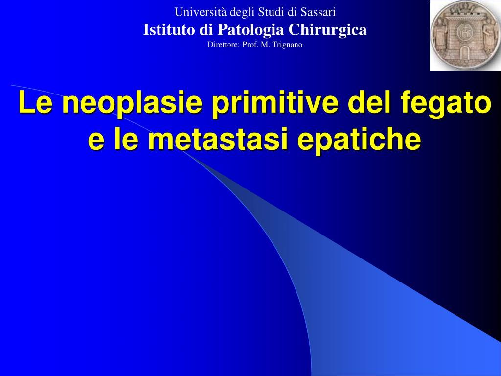 le neoplasie primitive del fegato e le metastasi epatiche l.