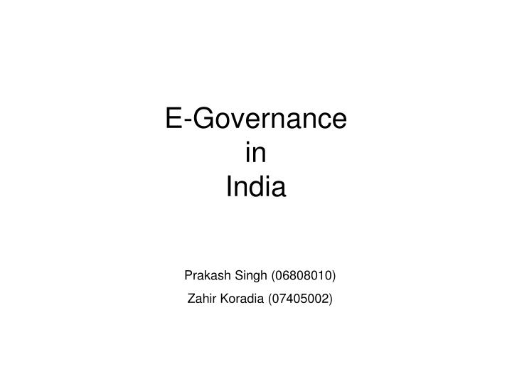 e governance in india n.