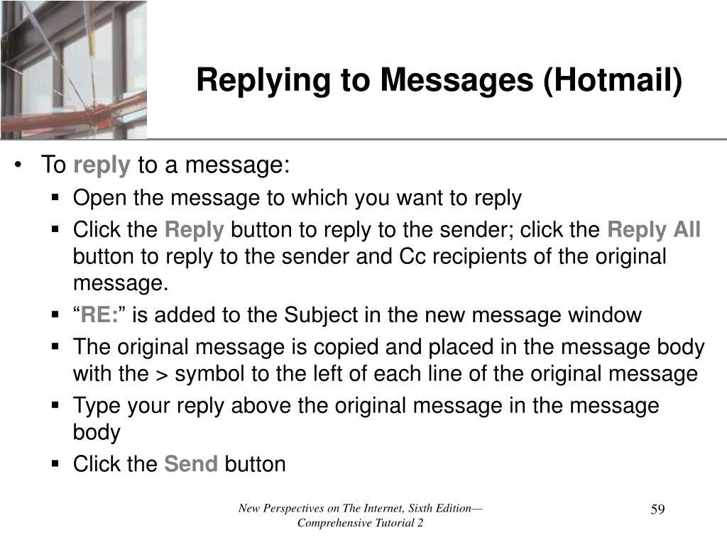 Replying to Messages (Hotmail)