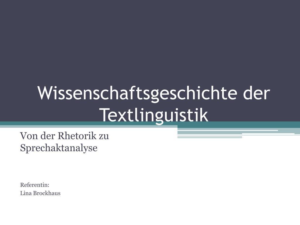 wissenschaftsgeschichte der textlinguistik l.