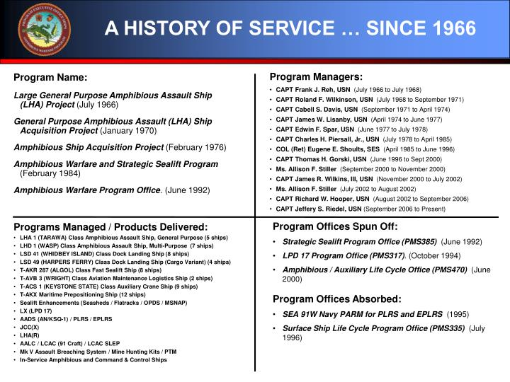 A HISTORY OF SERVICE … SINCE 1966