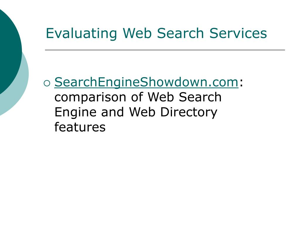 Evaluating Web Search Services