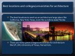 best locations and colleges universities for architecture