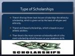 type of scholarships