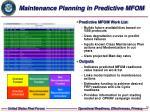 maintenance planning in predictive mfom