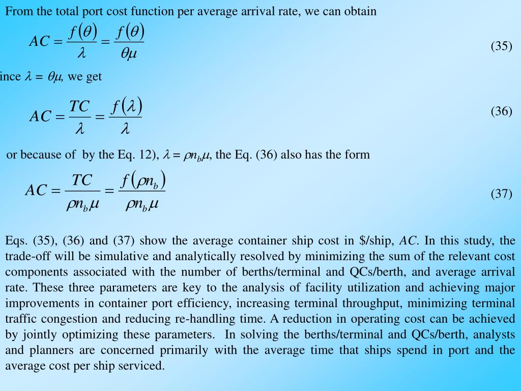 From the total port cost function per average arrival rate, we can obtain