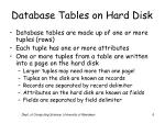 database tables on hard disk