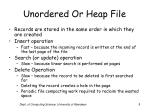unordered or heap file