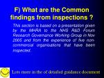 f what are the common findings from inspections