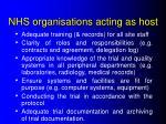 nhs organisations acting as host