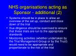 nhs organisations acting as sponsor additional 2