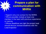 prepare a plan for communication with mhra