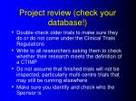 project review check your database