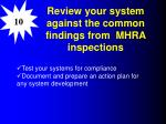 review your system against the common findings from mhra inspections