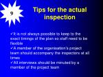 tips for the actual inspection
