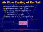 air flow testing of eel tail