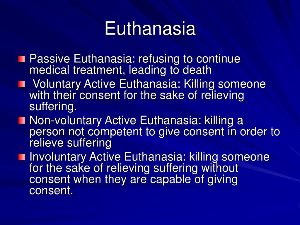 passive vs active euthanasia Passive euthanasia is morally permissible whereas active eutha ae eliminates more pointless suffering than pe because it is q if the conventional doctrine is correct, the matter of life or.