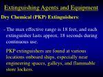 extinguishing agents and equipment86