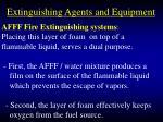 extinguishing agents and equipment93