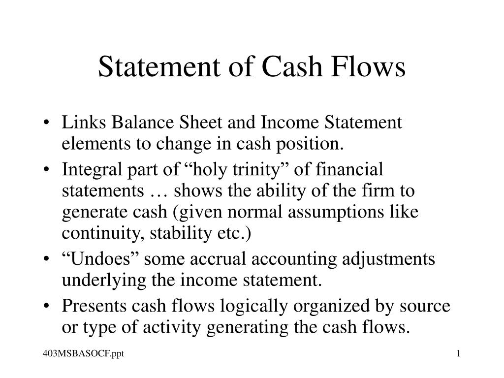 statement of cash flows l.
