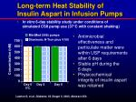 long term heat stability of insulin aspart in infusion pumps