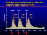rapid acting insulin analogs provide ideal prandial insulin profile