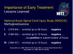 importance of early treatment lessons learned