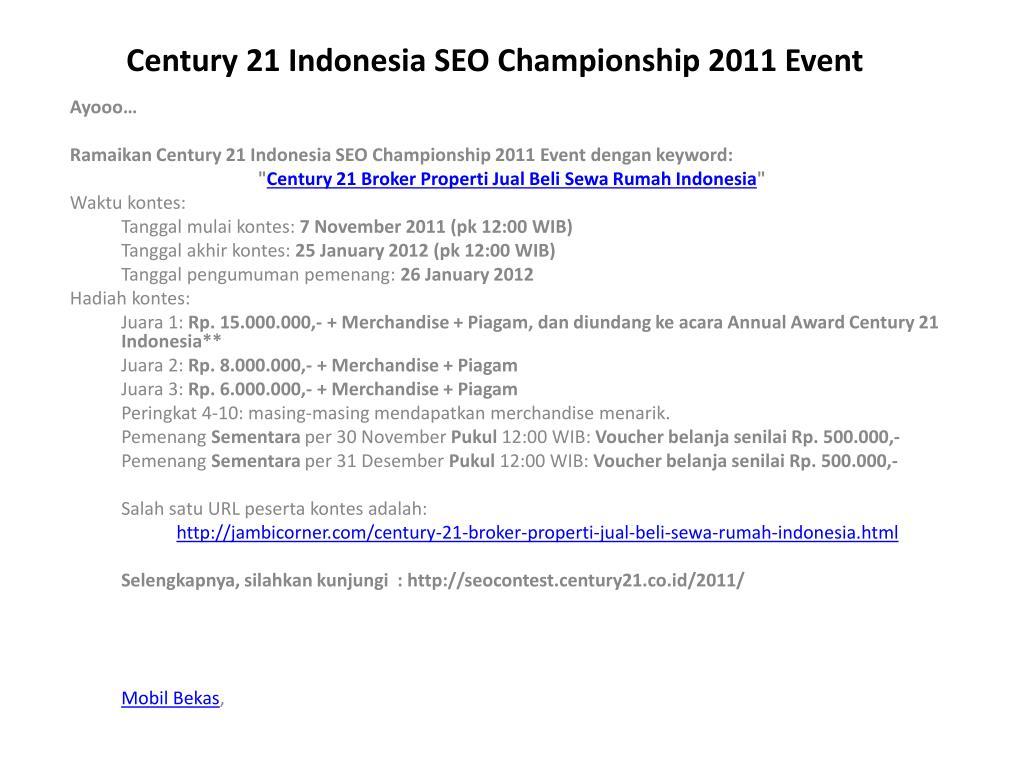 century 21 indonesia seo championship 2011 event l.