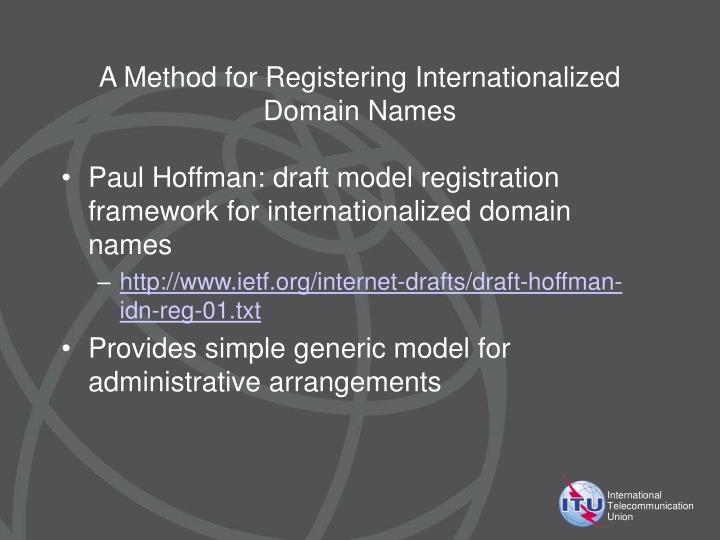 A Method for Registering Internationalized Domain Names