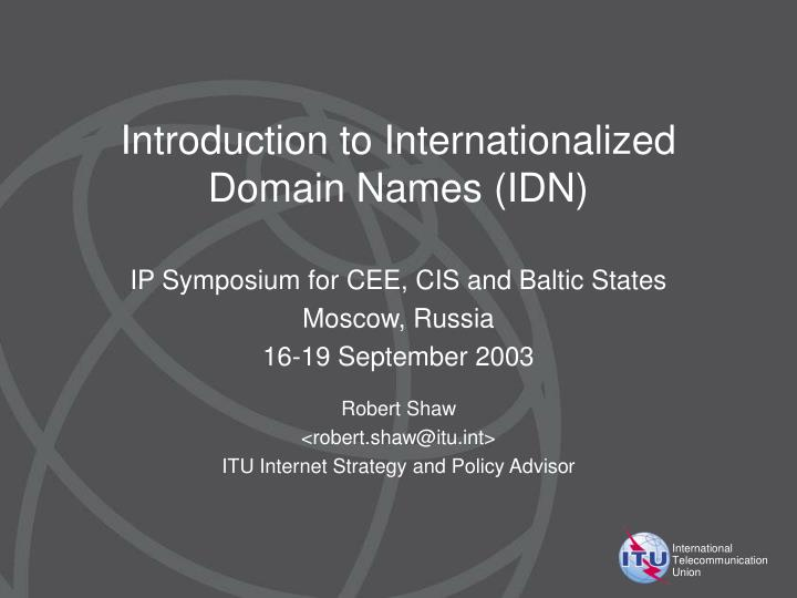 introduction to internationalized domain names idn n.