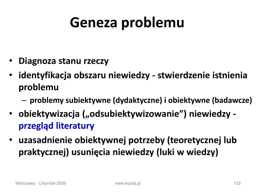 Geneza problemu