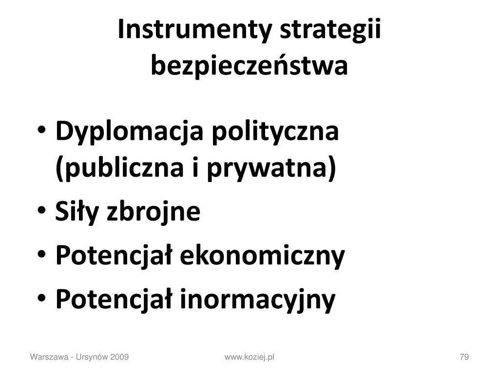 Instrumenty strategii bezpieczeństwa