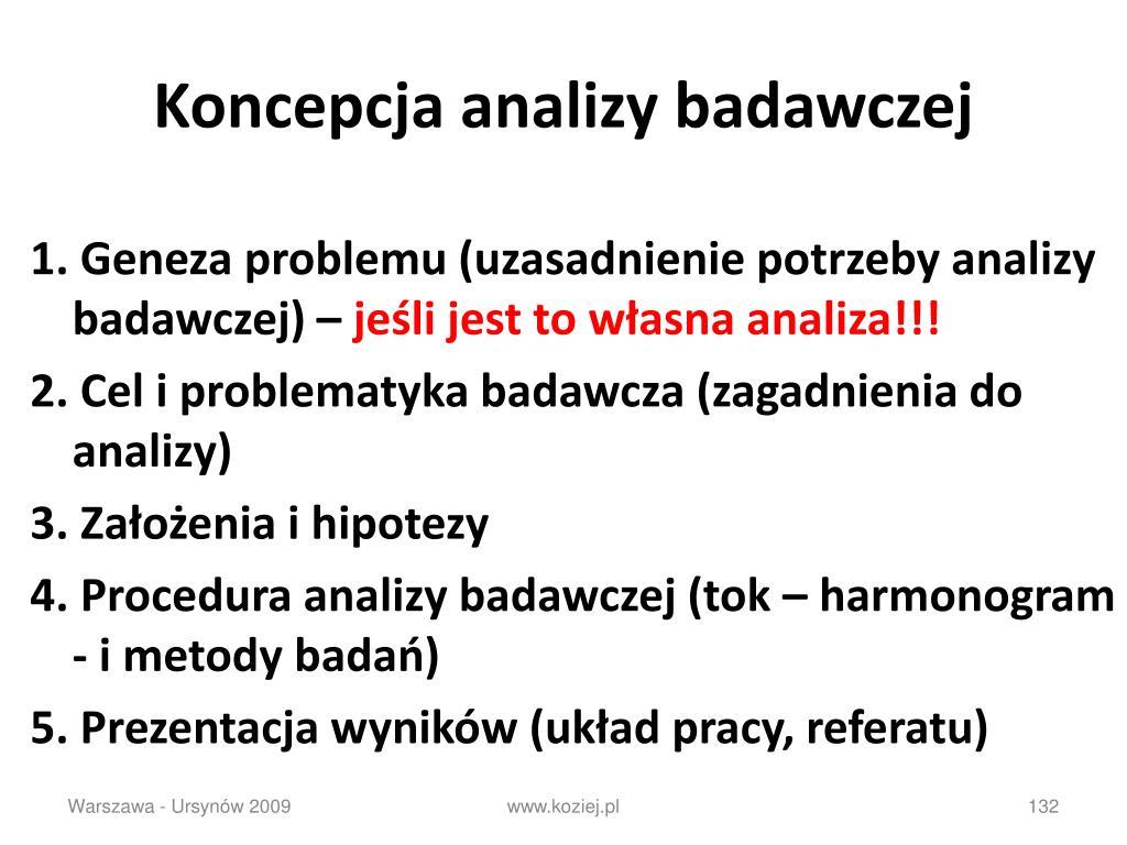 Koncepcja analizy badawczej
