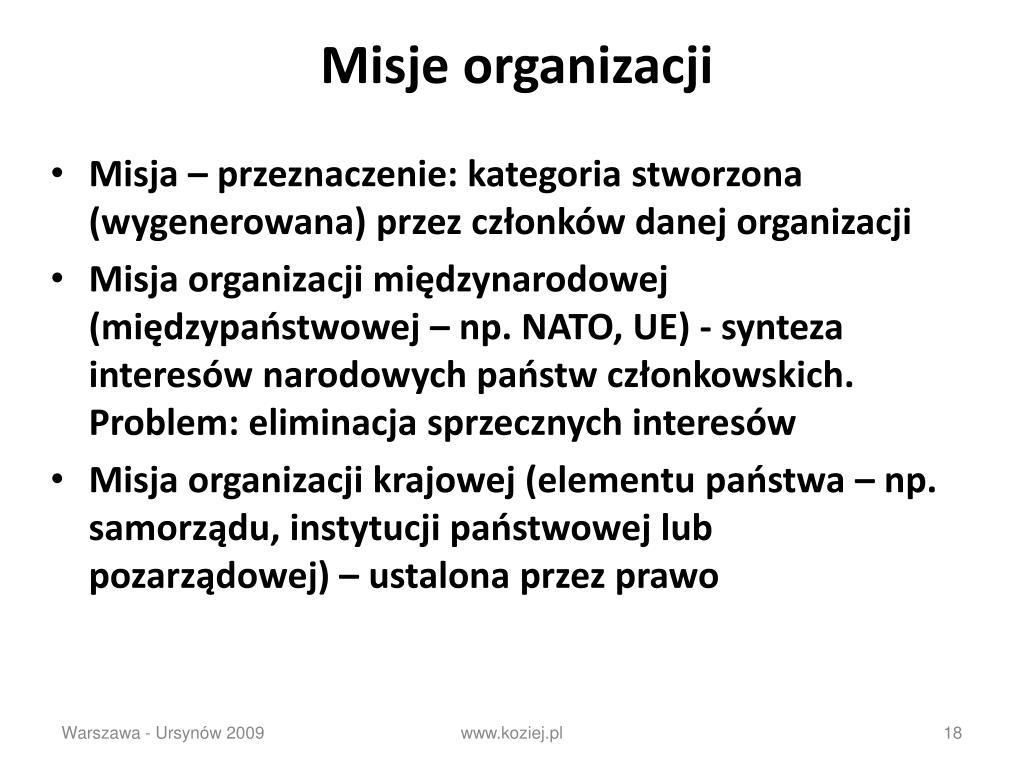 Misje organizacji
