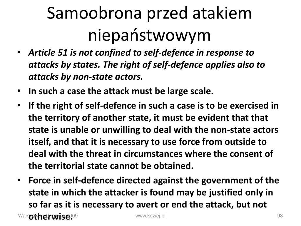 Samoobrona przed atakiem niepaństwowym