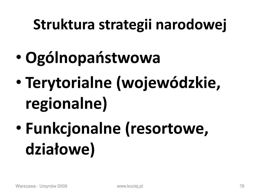 Struktura strategii narodowej
