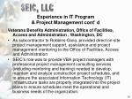 experience in it program project management cont d10